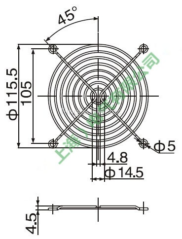 120mm axial flow fan protective cover drawing
