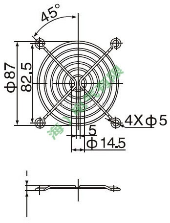 90mm axial flow fan protective cover drawing