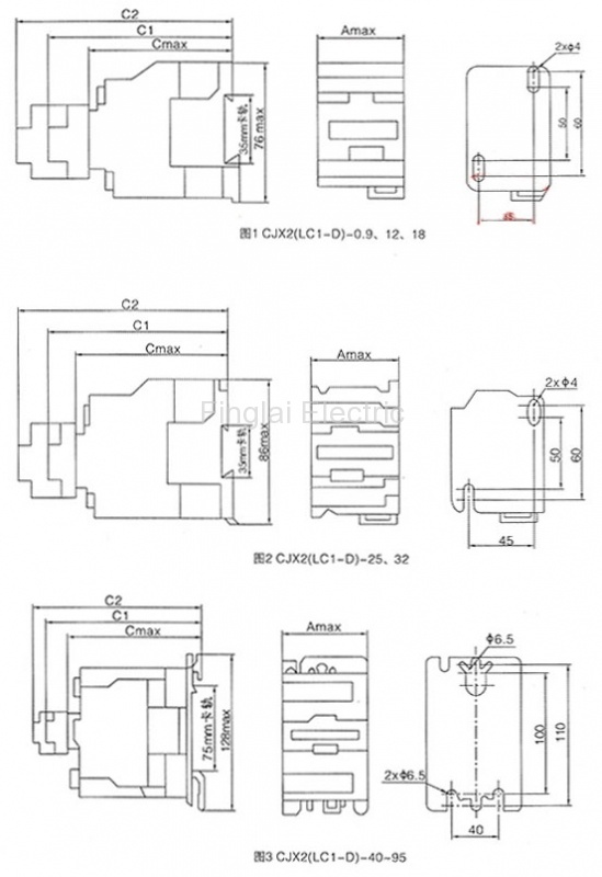 CJX2 series AC contactor drawing