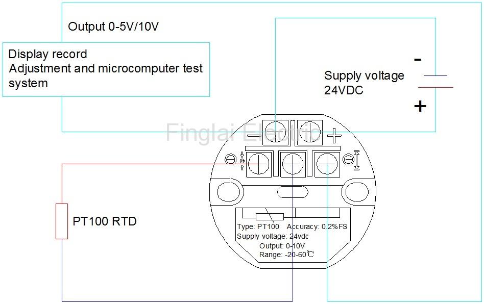 FTT01-V series temperature transmitter wiring diagram (Left PT100)