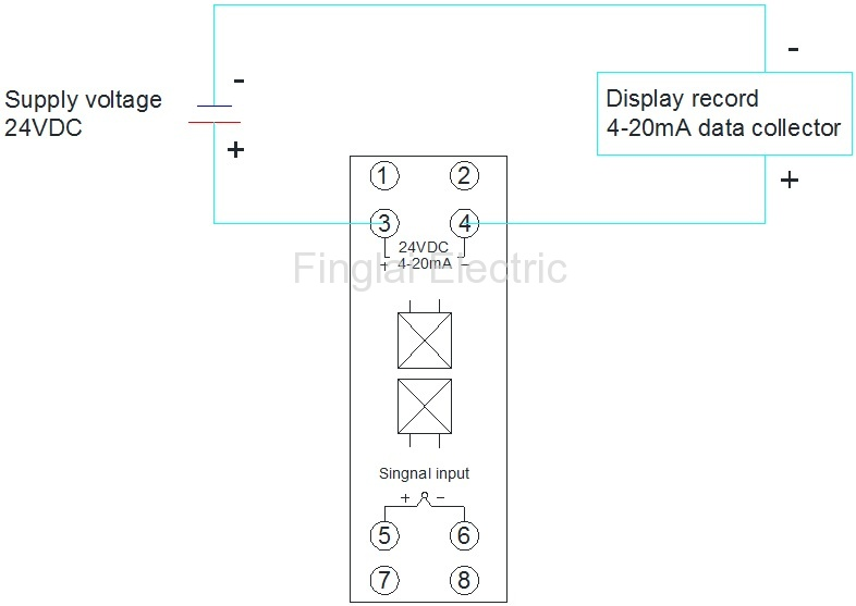 FTT03 K input 4-20mA output temperature transmitter wiring diagram