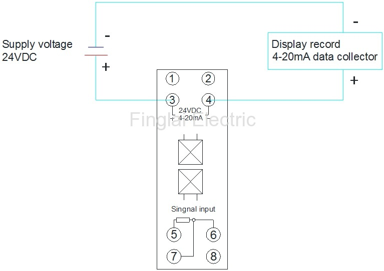 FTT03 PT100 input 4-20mA output temperature transmitter wiring diagram