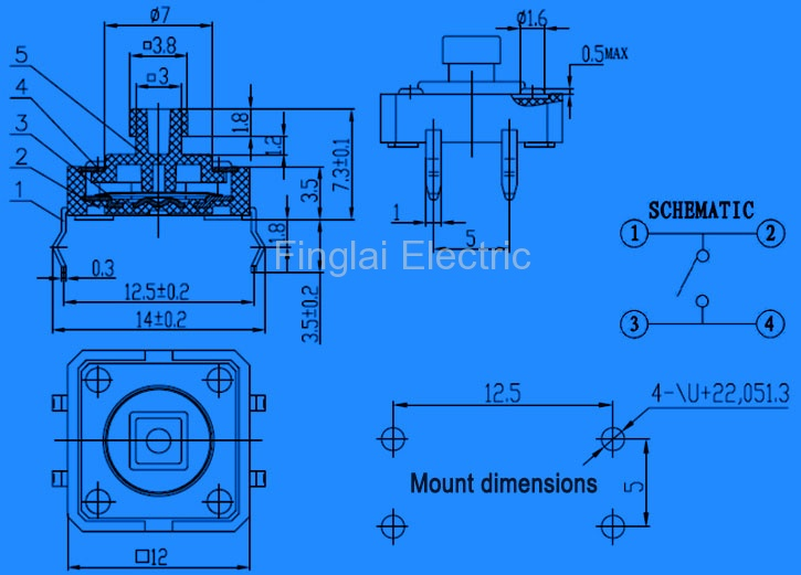 FAS12-S series tact switch insert mount type drawing
