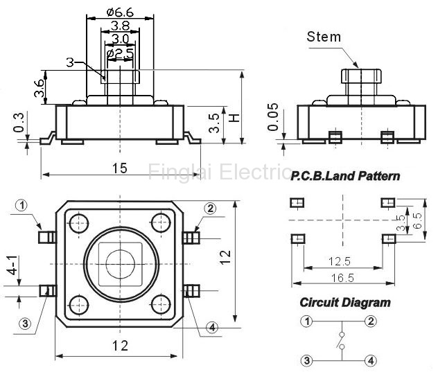 FAS12-S series tact switch surface mount type drawing
