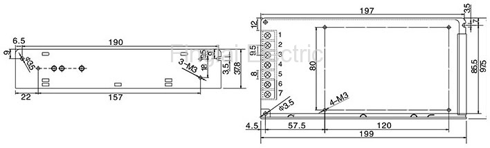 S-100 series general switching power supply mounting dimensions