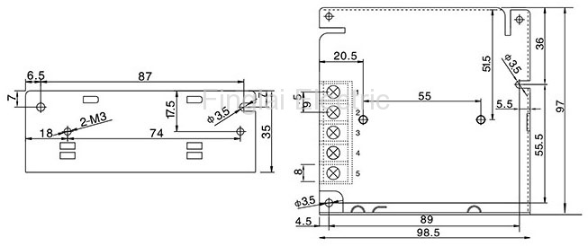 S-15 series general switching power supply mounting dimensions