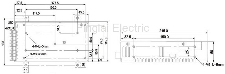 S-201 series 201W general switching power supply mounting dimensions