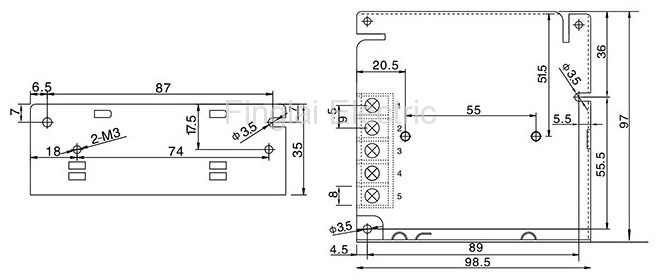 S-25 series general switching power supply mounting dimensions