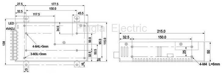 S-250H series general switching power supply mounting dimensions