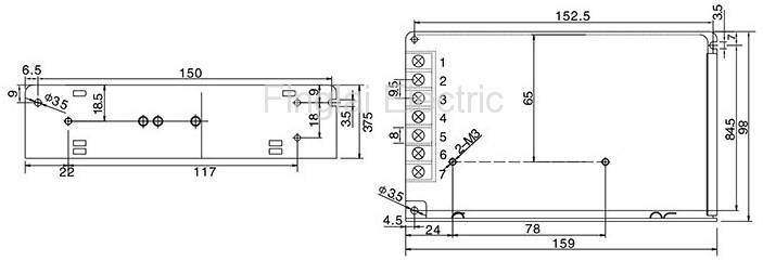 S-50 series general switching power supply mounting dimensions