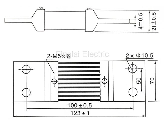 FL-2-75 1000A current shunt resistor drawing
