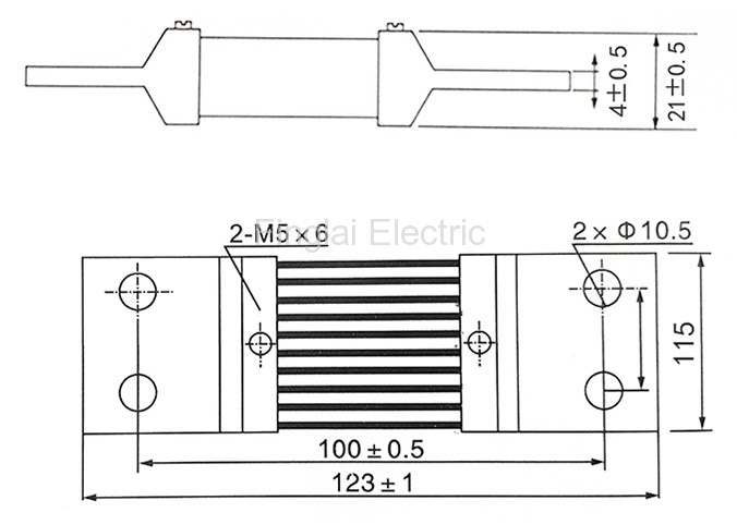 FL-2-75 1200A current shunt resistor drawing