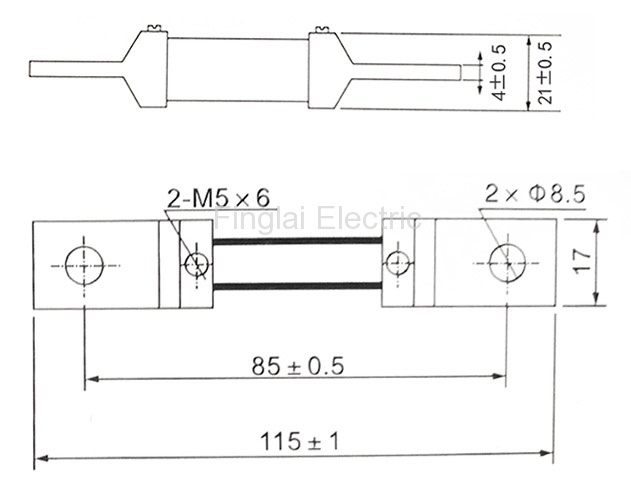 FL-2-75 150-200A current shunt resistor drawing