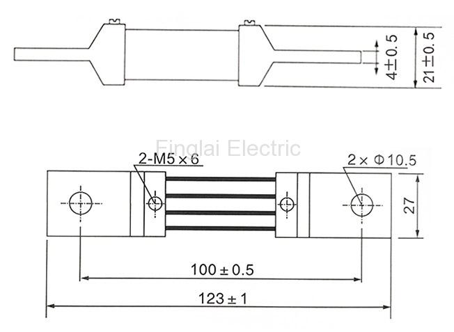 FL-2-75 400A current shunt resistor drawing