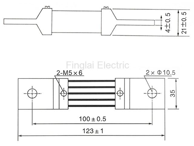 FL-2-75 500A current shunt resistor drawing