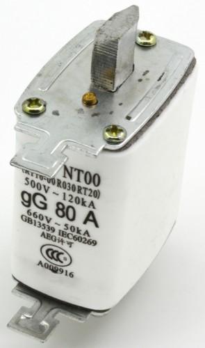 NT00 80A blade ceramic fuse