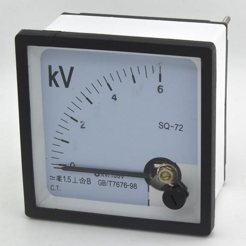 SQ-72-V6K/100 72*72mm 6000/100V 6K/100V pointer AC voltmeter