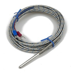 FTARP02 J type 4*40mm polish rod probe 3m high temperature metal screening cable thermocouple temperature sensor with spring protection