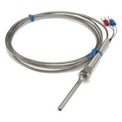FTARP07 PT100 type M8 screw thread 5*50mm stainless steel probe 2m metal screening cable RTD temperature sensor
